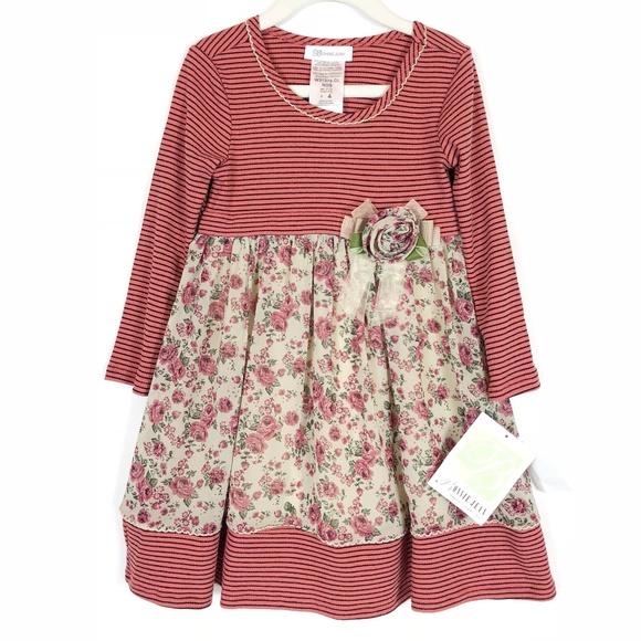 ea81eedd6d9 ... Floral Chiffon Striped Dress SZ 4. NWT. Bonnie Jean.  M_5b943b32951996b6b2b6916f. M_5b9525b734a4effeb4e9477f.  M_5b9525b9035cf12c81e4fb03